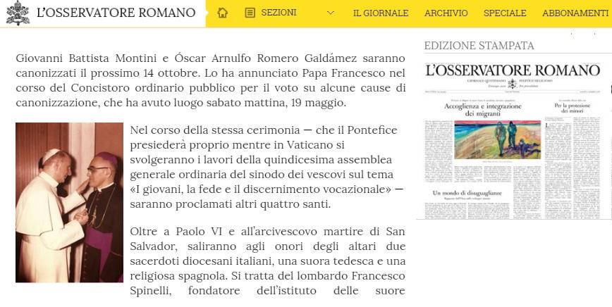 Roma al centro del mondo spirituale il 14 ottobre 2018 con la canonizzazione di Paolo VI e del Cardinal Romero