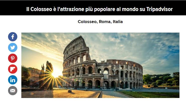 Roma al centro dell'interesse: il Colosseo, su TripAdvisor, è l'attrazione più popolare al mondo