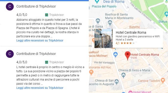 Google Maps: l'Hotel Centrale al centro di Roma